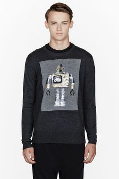 MARKUS LUPFER Charcoal grey sequined vintage robot sweatershirt