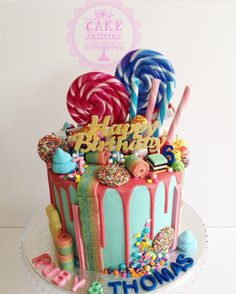 Classy Lolly Decorated Cake regarding Candy Land Drip Cake! With Loads Of Goodies 🍭 Pretty Cakes, Cute Cakes, Candy Cakes, Cupcake Cakes, Lolly Cake, Drip Cakes, Occasion Cakes, Sweet Cakes, Cake Creations