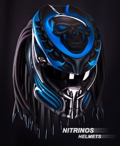 Custom New Predator Motorcycle DOT Approved Helmet - Blue Basic Helm NHK Certificate DOT, Full Face Surely that& been with the National Indonesia (SNI) Additional accessories such as Lamp with on & off switch. Motorcycle Events, Custom Motorcycle Helmets, Custom Helmets, Motorcycle Gear, Custom Motorcycles, Bike Helmets, Biker Gear, Indian Motorcycles, Helmet Accessories