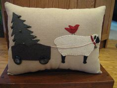 Sheep Carting Christmas Tree Applique Pillow from Justplainfolk on Etsy. Shop more products from Justplainfolk on Etsy on Wanelo. Applique Pillows, Wool Applique Patterns, Sewing Pillows, Wool Pillows, Diy Pillows, Quilt Patterns, Christmas Applique, Christmas Sewing, Christmas Tree