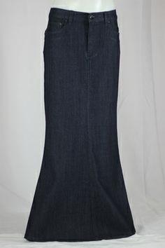 Bay Dark Blue Long Jean Skirt