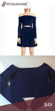 9564a2285dd Torn by Ronny Kobo cropped off shoulder top Navy blue ronny kobo off  shoulder top.