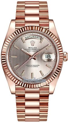 Rolex Day-Date Everose Gold 228235 Sundust Stripe Index Luxury Watches, Rolex Watches, Cool Watches, Watches For Men, Rolex Presidential, Authentic Watches, Rolex Day Date, Rolex Gmt Master, Rings