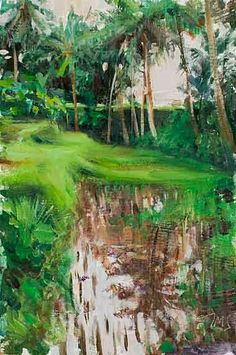 """Rice Paddies"" Ubud (SOLD) 12cm x 17cm (4½""x7"") oil painting on board Artist: Julian Merrow Smith"