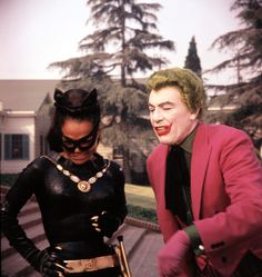 Batman - the swingin sixties: Musings of an inappropriate woman blog      Eartha Kitt as Catwoman and Cesar Romero as The Joker.      (via esmeweatherwax)