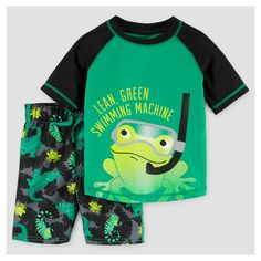 Toddler Boys' Rash Guard & Swim Trunk Set Reptiles 2T - Just One You Made by Carter's, Toddler Boy's, Green