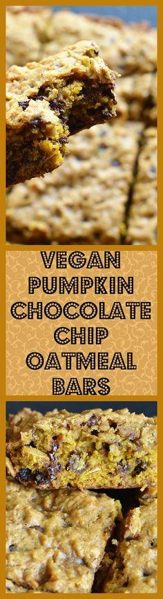 You'll love these cake-like Vegan Pumpkin Chocolate Chip Oatmeal Bars! Pure pumpkin puree, old fashioned oats, vegan mini chocolate chips. Vegan Treats, Vegan Foods, Vegan Snacks, Vegan Desserts, Dessert Recipes, Pumpkin Chocolate Chips, Chocolate Chip Oatmeal, Oatmeal Bars, Vegan Pumpkin