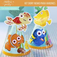 Muchas ideas para decorar tu fiesta de Dory y Nemo con estas decoraciones para imprimir y armar. Recibí tu kit en tu mail, imprimí y decorá. Nemo Y Dory, Party Printables, Invitation Cards, Printables, Decorations, Invitations