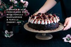 Steamed Black Forest Mud Cake with Vanilla Mascarpone & Vanilla Cherry Jam