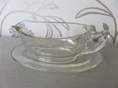 Pyrex Clear Glass Gravy or Sauce Boat and by BlackSquirrelHome