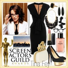 """SAG Awards: Tina Fey"" created by #colette, #polyvore #fashion #style Elie Saab GINETTE NY #Chanel Charlotte Olympia Kate Spade Hudson Jeans"