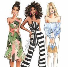 """WEBSTA @ hnicholsillustration - Six new girls have joined the shops on Etsy and Scroll through to """"meet"""" them! Moda Fashion, Fashion Week, Fashion Art, Fashion Models, Girl Fashion, Fashion Outfits, Fashion Design Drawings, Fashion Sketches, Illustration Blume"""