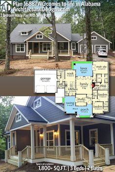 Architectural Designs Craftsman House Plan under construction in reverse orientation by our client in Alab… Remove 1 BR. Architectural Designs Craftsman House Plan under construction in reverse orientation by our client in Alabama! Ranch House Plans, Craftsman House Plans, Bedroom House Plans, New House Plans, Dream House Plans, Small House Plans, House Floor Plans, Dream Houses, Country House Plans