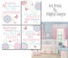Nursery Wall Decor Baby Girl Art PrintsWillow by HollyPopDesigns, $43.00