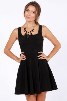 can never go wrong with a LBD, perfect neckline for a red statement necklace. and red pumps of course ;) #lulus #holidaywear