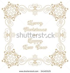Christmas or New Year greeting card with hand drawn snowflakes and curly design elements. Vector illustration in retro style - stock vector