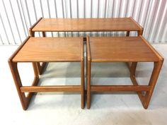 Set of three Vintage Mid century Modern Danish Nesting Tables by KASEVINTAGE on Etsy