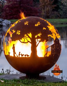 Appel Crisp Farms Fire Pit Sphere 02 - Animals-chicken-duck-goat-child-feeding - The Fire Pit Gallery Fire Pit Sphere, Glass Fire Pit, Fire Pit Ring, Metal Fire Pit, Wood Burning Fire Pit, Diy Fire Pit, Fire Pits, Fire Pit Gravel, Fire Pit Video