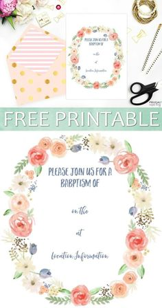 Free printable baptism floral invitation template binyag free printable baptism invitation stopboris Gallery