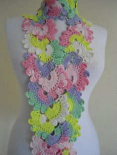 valentines day Crocheted Multi Color Bamboo Lace by likeknitting, $28.99