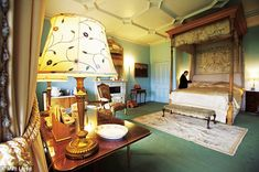 Cora's bedroom with 18th century silk bed hangings