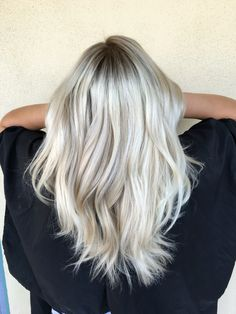 Amazing icy blonde hair! Ash blonde. Wavey  hair done by @alexaa3 in az at Habit…