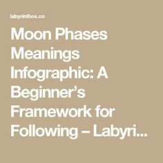 Moon Phases Meanings Infographic: A Beginner's Framework for Following – Labyrinthos