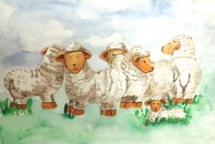 Sheep  Watercolor.                   Signed by Wilma www.werkvanwilma.nl