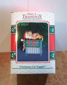 Enesco Ornament Christmas Cat Nappin NIB Mouse (E1)