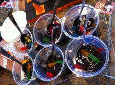 Dirt cups for a construction themed birthday party!