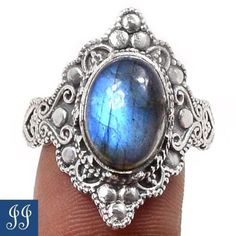 s10-64342-LABRADORITE-925-STERLING-SILVER-RING-SIZE-10-JEWELRY