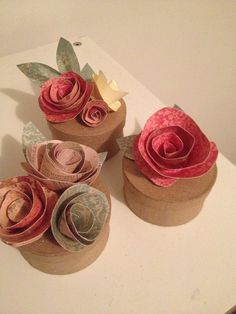 Original tutorial here (http://jonesdesigncompany.com/flowers/rolled-paper-flowers-tutorial/).  I made toppers for small gift boxes instead of a bouquet.  They are so beautiful and whimsical and so EASY to make!
