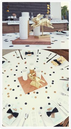 Retro-Modern Palm Springs meets Alice in Wonderland // gold and black confetti table, Alice's hair bow as party favors.