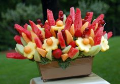 More paleo birthday cake ideas. Mainly using fruit like water melons or pineapples and decorating with fruit. Fruit And Veg, Fruits And Veggies, Fresh Fruit, Fruit Box, Best Fruits, Healthy Fruits, Edible Bouquets, Fruit Decorations, Fruit Kabobs