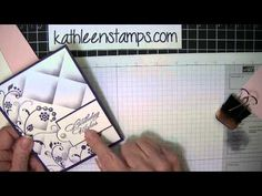 Faux Tile stamping technique by Kathleen Wingerson. Stamp on white panel, then score diagonally. Score diagonally on scrap & cut a corner to use as a mask. Lay down the mask on the stamped paper in line with a scored corner & sponge -- just near the corner. Repeat.