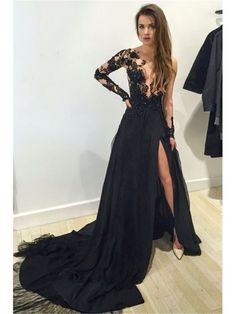 BLACK LONG SLEEVES HIGH SLIT SEXY 2017 PROM DRESS WITH LACE APPLIQUE