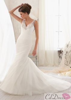 Gorgeous V Neck Chiffon with Beading and Sequins Mermaid Wedding Dress