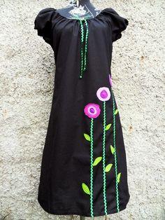 Kleid Tunika Gr. 40 kurz arm Kleid schwarz Zackenlitze Fleece Blumen