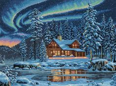 "Dimensions Crafts Gold Collection Aurora Cabin Counted Cross Stitch Kit 16""X12"" 35212: Amazon.co.uk: Kitchen & Home"