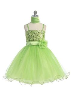 Lime Stunning Sequined Bodice with Double Tulle Skirt Flower Girl Dress (Available in Sizes 2-20 in 6 Colors)