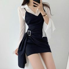 Korean Girl Fashion, Ulzzang Fashion, Kpop Fashion Outfits, Girls Fashion Clothes, Edgy Outfits, Mode Outfits, Cute Casual Outfits, Cute Fashion, Asian Fashion