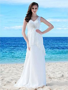 Sheath/Column V-neck Floor-length Chiffon Lace Wedding Dress... – USD $ 299.99