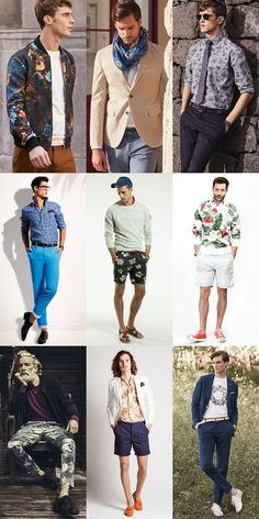 Men's Spring Floral Print Clothing and Accessories Outfit Inspiration Lookbook