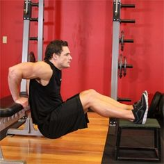 Tricep dips with feet on plyo box. Keep your back as close to your hands as possible.
