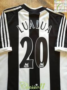 Official Adidas Newcastle United home football shirt from the season. Complete with LuaLua on the back of the shirt in original Premier League lettering. Bobby Robson, Newcastle United Football, Charlton Athletic, Derby County, Thing 1, One Team, Football Season, Black White Stripes, Football Shirts