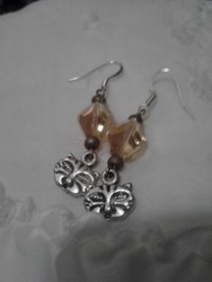 Funky Kitty Face and Crystal Earrings by SpiralHawkStudio on Etsy, $7.00