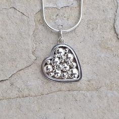 Small Heart Pendant Sterling Silver Necklace by HEvansGems on Etsy