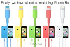 Color Lightning Cables Designed for iPhone 5c - Blue please :)