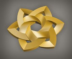 Celtic knot-work hexa rose 3D gold AutoCAD by Peter Mulkers