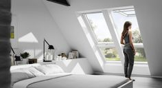 Develop attic apartment with VELUX * bedroom under the roof * Living ideas for small rooms Source by Loft Room, Bedroom Loft, Skylight Bedroom, Attic Apartment, Attic Rooms, Attic Conversion, Loft Conversions, Loft Conversion Bedroom, Decor Inspiration
